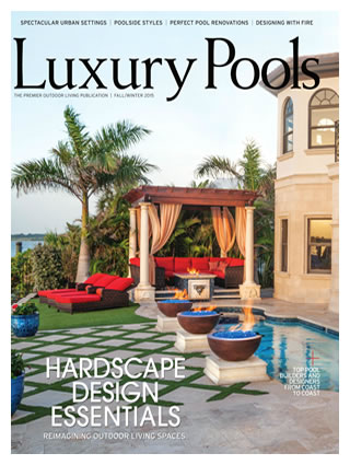 Ryan Hughes Design Build on the cover and featured in Luxury Pools Magazine October 2015