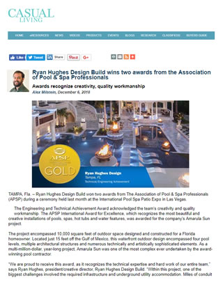 Ryan Hughes Design Build Wins Two Awards From The Association Of Pool U0026 Spa  Professionals